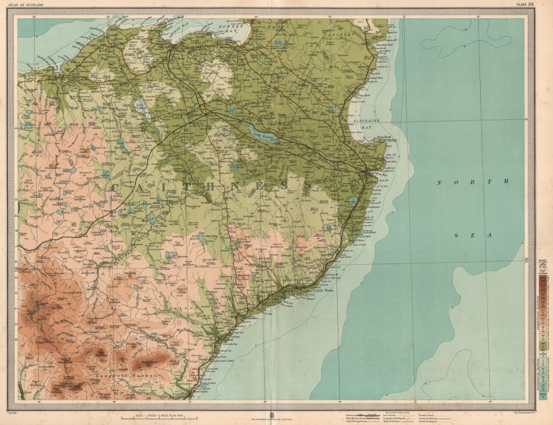 Associate Product CAITHNESS. Wick Thurso Langwell Forest Scotland. LARGE 1912 old antique map