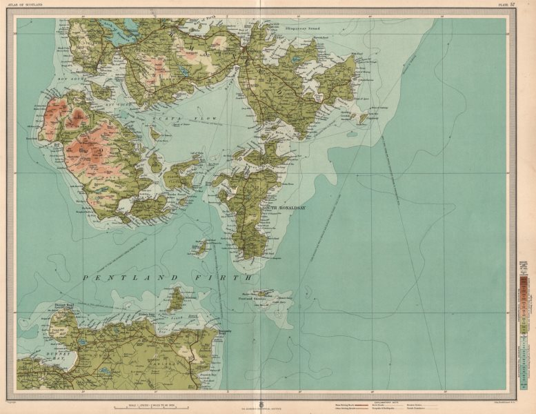 Associate Product ORKNEY ISLANDS SOUTH Ronaldsay Kirkwall Mainland Pentland Firth Hoy 1912 map