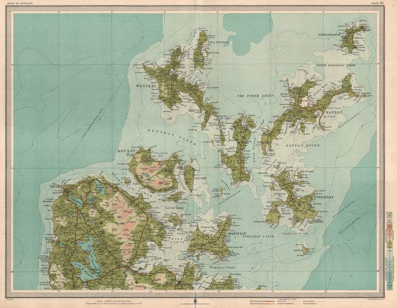 Associate Product ORKNEY ISLANDS NORTH Kirkwall Westray Sanday Stronsay Rousay Shapinsay 1912 map