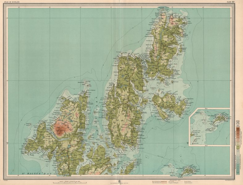 Associate Product SHETLAND ISLANDS NORTH. Sullom Voe Yell Unst Out Skerries. LARGE 1912 old map