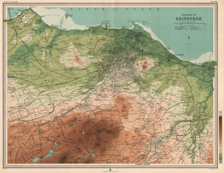 Associate Product Environs of EDINBURGH & LEITH. Midlothian. Large 45x55. Relief. LARGE 1912 map