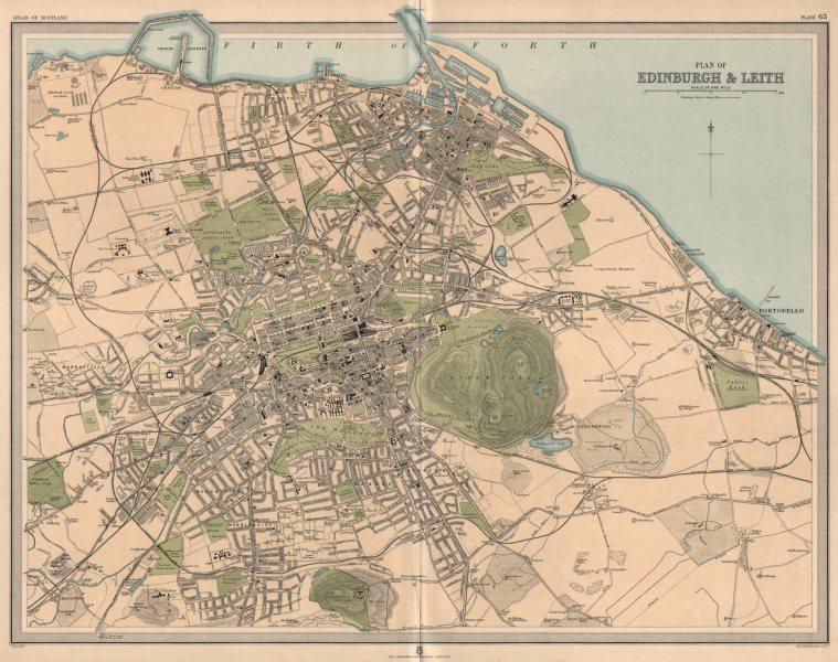 Associate Product Large antique EDINBURGH & LEITH town/city plan. 45 x 55 cm. LARGE 1912 old map