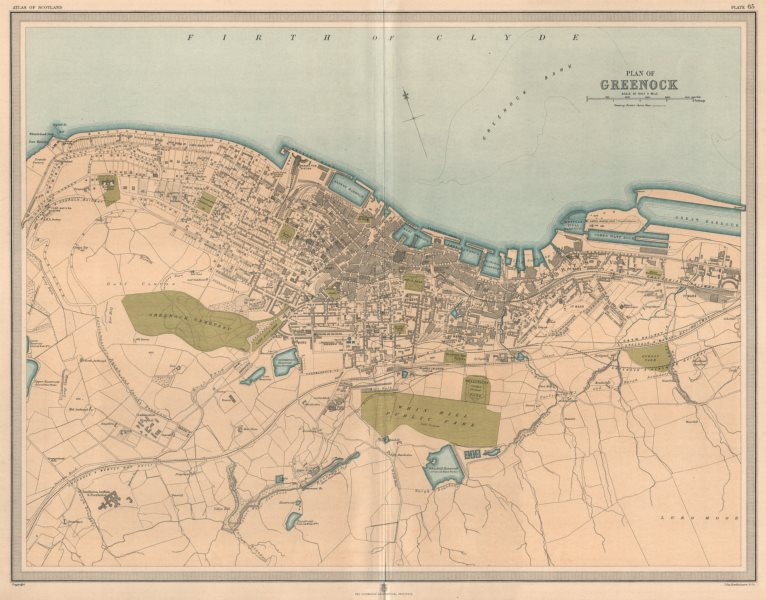 Associate Product Large antique GREENOCK town/city plan. 45 x 55 cm. LARGE 1912 old map