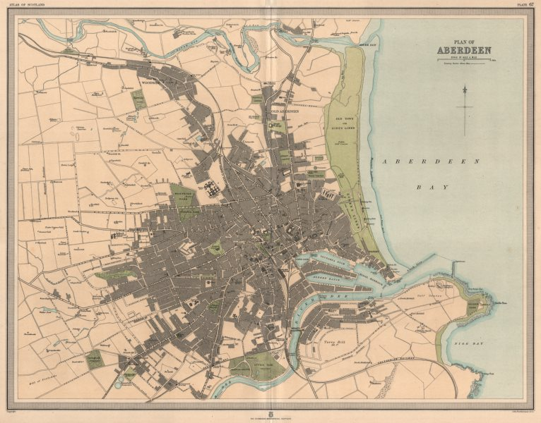Associate Product Large antique ABERDEEN town/city plan. 45 x 55 cm. LARGE 1912 old map