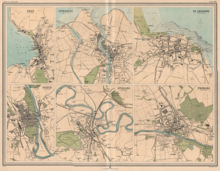 Associate Product SCOTTISH TOWNS Oban Inverness St. Andrews Perth Stirling Peebles. LARGE 1912 map
