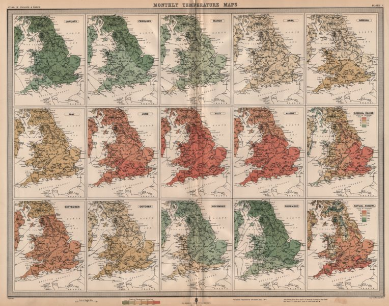 Associate Product GREAT BRITAIN. England and Wales. Monthly & annual Temperatures. LARGE 1903 map