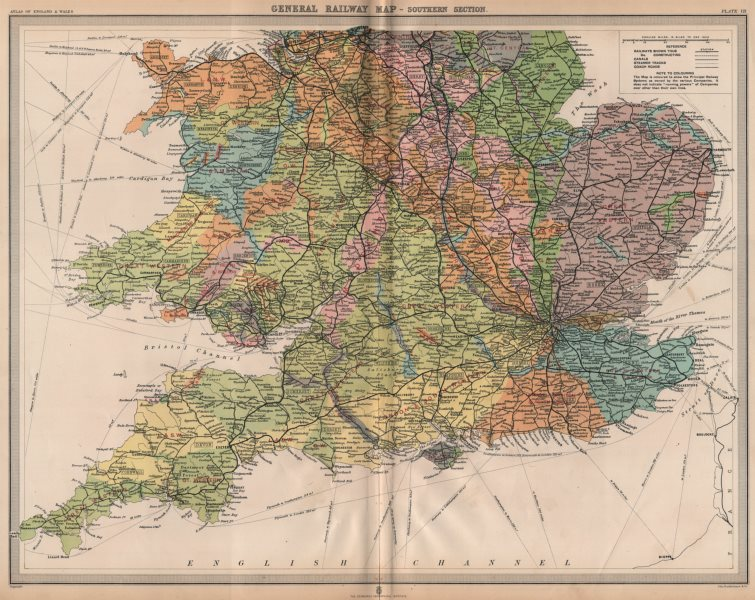 Associate Product ENGLAND & WALES SOUTH. Railways companies canals coach roads. LARGE 1903 map