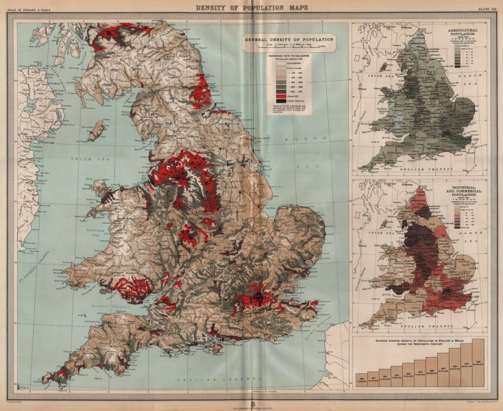 Associate Product ENGLAND & WALES. Population density. Agricultural Industrial. LARGE 1903 map
