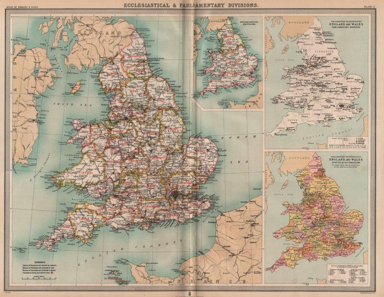ENGLAND & WALES Eccelestiastical & parliamentary constituencies. LARGE 1903 map
