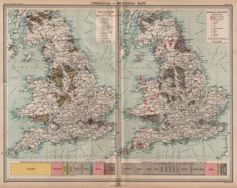 Associate Product ENGLAND WALES. Mining Manufacturing Products Industries Coal Cu Tin Pb 1903 map