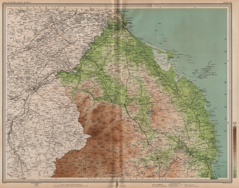 Associate Product NORTHUMBERLAND. Berwick-upon-Tweed Alnwick Cheviot Hills. LARGE 1903 old map