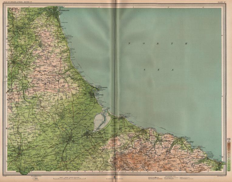 Associate Product NE ENGLAND COAST. Teeside Middlesbrough Sunderland Darlington Whitby 1903 map