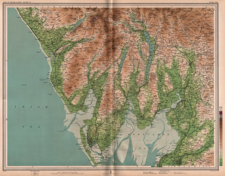 Associate Product LAKE DISTRICT. Barrow Windermere Ambleside Kendal Morecambe Bay. LARGE 1903 map