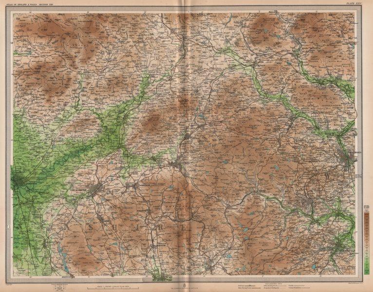 Associate Product LANCASHIRE/YORKSHIRE. Blackburn Halifax Bradford Burnley Ribble Valley 1903 map
