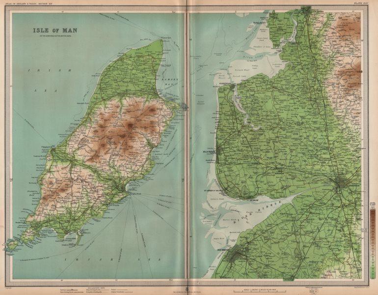 Associate Product LANCASHIRE COAST/ISLE OF MAN. Preston Blackpool Lytham Lancaster. LARGE 1903 map