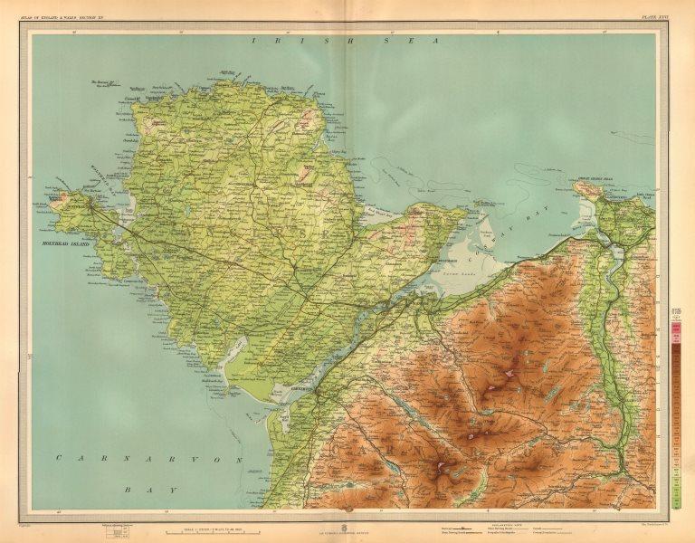 Associate Product ANGLESEY SNOWDONIA NORTH. Conwy Snowdon Bangor Llandudno Caernarvon 1903 map