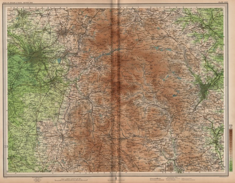 Associate Product PEAK DISTRICT. Manchester Sheffield Chesterfield Ches Yorks Derbys 1903 map