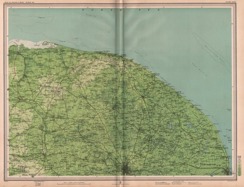 Associate Product NORFOLK BROADS (NORTH). Cromer Norwich Great Yarmouth Dereham. LARGE 1903 map