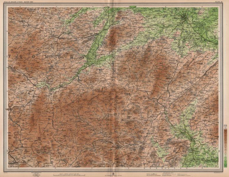 SHROPSHIRE HILLS. Montgomery Shrewsbury Ludlow Clun Welshpool Wales 1903 map