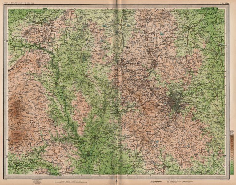 Associate Product W MIDLANDS/SEVERN VALLEY. Birmingham Shropshire Hills Wolverhampton 1903 map