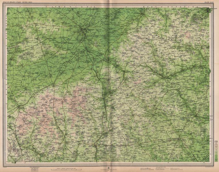 Associate Product EAST ANGLIA. Cambridge Bury St Edmunds Braintree Saffron Walden. LARGE 1903 map