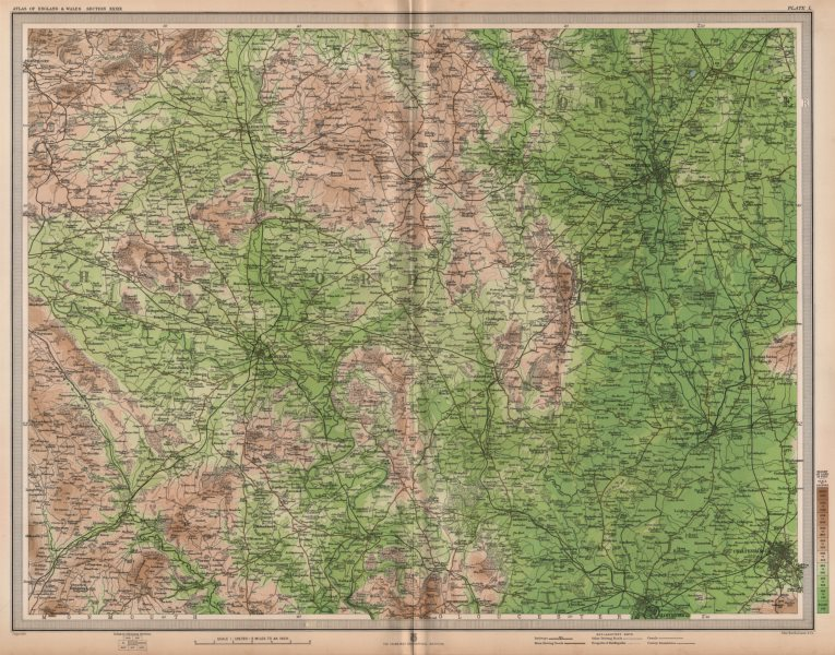 Associate Product WELSH MARCHES. Hereford Worcester Malvern Cheltenham Gloucester. LARGE 1903 map