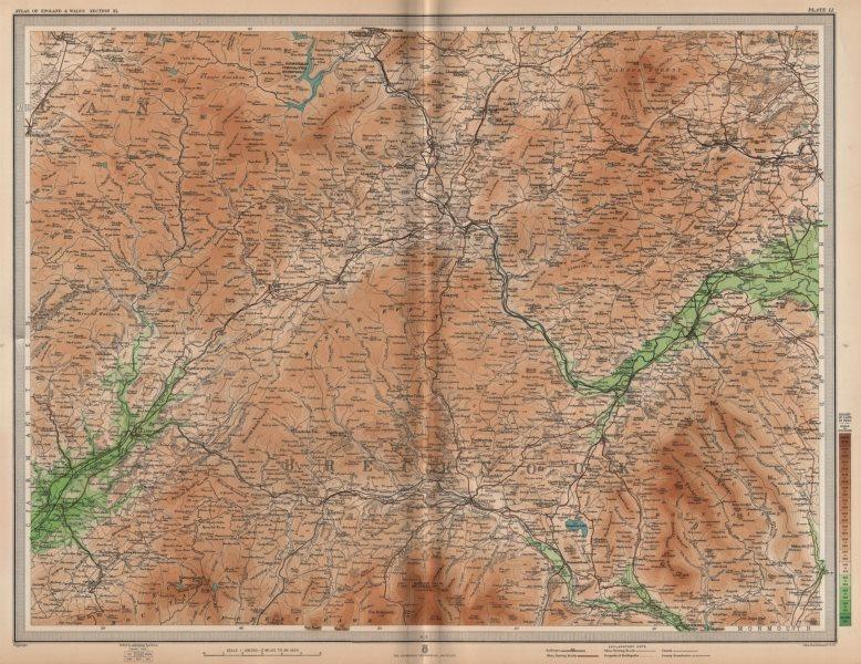Associate Product BRECKNOCKSHIRE. Brecon Beacons Hay-on-Wye Usk Llandovery Black Mtns 1903 map