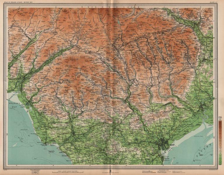 Associate Product SOUTH WALES. Cardiff Merthyr Tydfil Newport Valleys Abergavenny. LARGE 1903 map