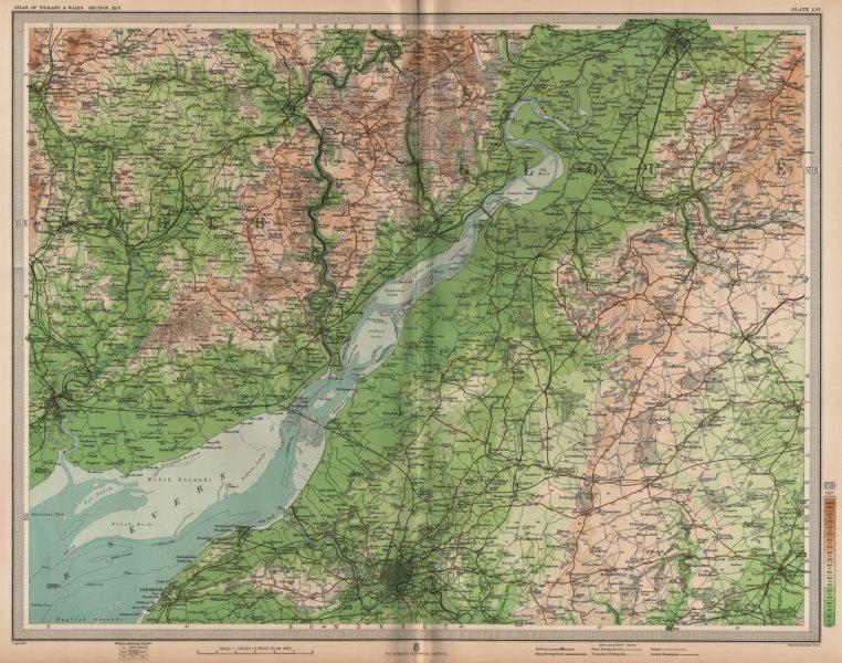 Associate Product SEVERN ESTUARY. Bristol Newport Monmouth Gloucester Stroud. LARGE 1903 old map