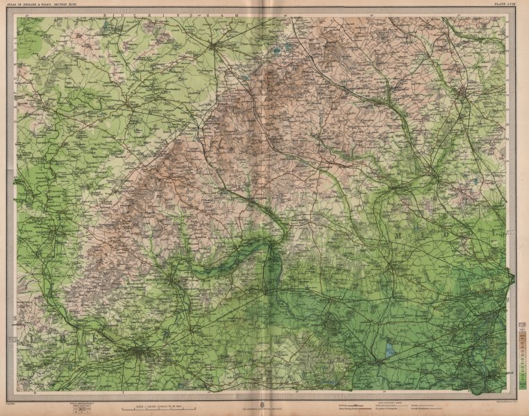 Associate Product CHILTERNS & WEST LONDON. Aylesbury Reading Slough High Wycombe. LARGE 1903 map