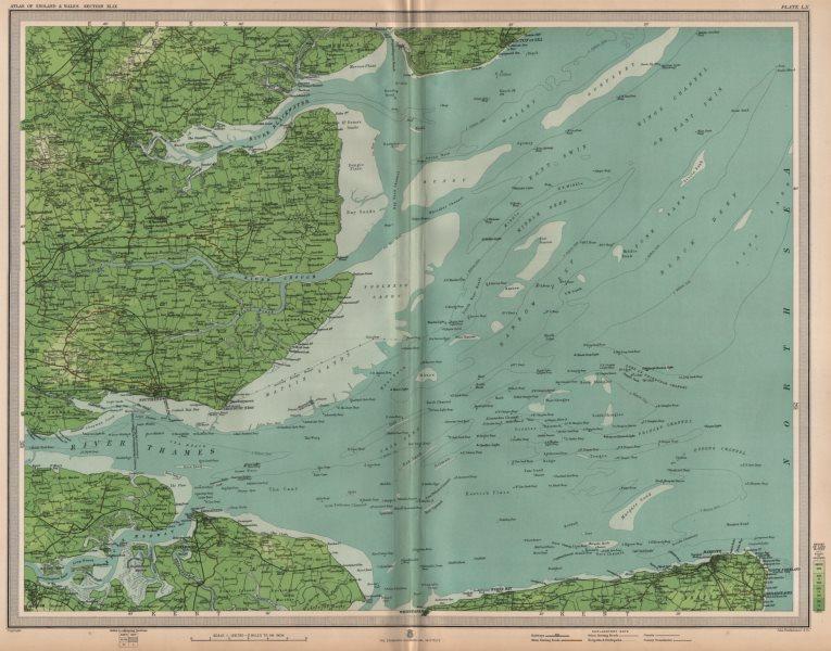 Associate Product THAMES ESTUARY Buoys Lightships Medway Southend Sheerness Margate LARGE 1903 map