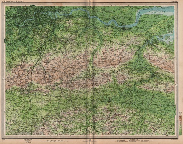 Associate Product SOUTH LONDON & NORTH DOWNS. Chatham Tonbridge Maidstone. Kent Surrey 1903 map