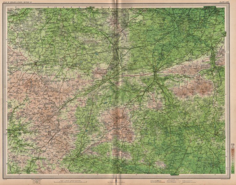 Associate Product HAMPSHIRE DOWNS/SURREY. Aldershot Guildford Basingstoke Chertsey. LARGE 1903 map