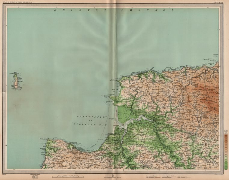 Associate Product NORTH DEVON Ilfracombe Barnstaple Bideford Exmoor Clovelly Lundy. LARGE 1903 map