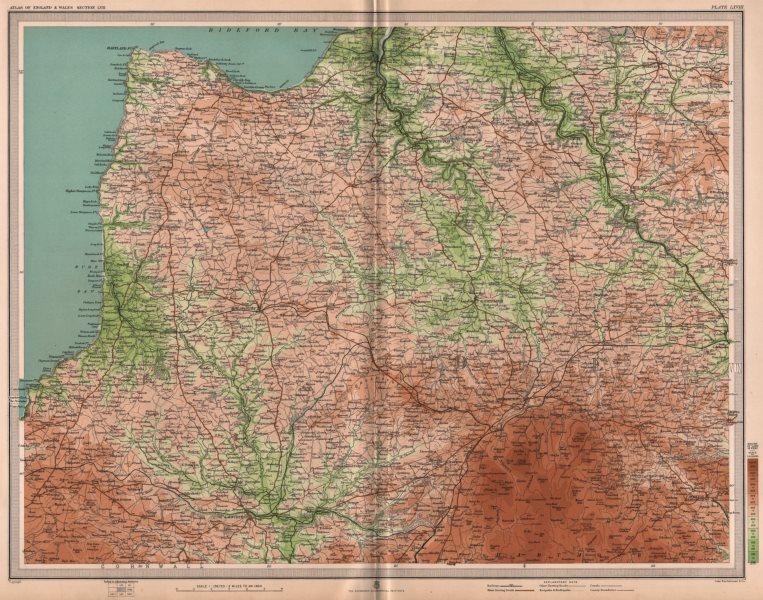 Associate Product NORTH DEVON/EAST CORNWALL. Bideford Launceston Bodmin Moor Clovelly 1903 map