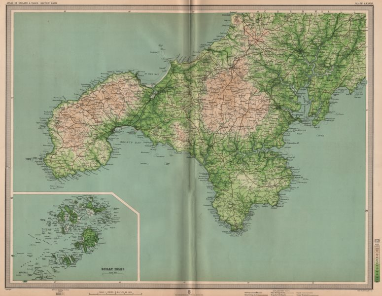 Associate Product CORNWALL. Land's End Falmouth Scilly Isles Truro St Ives Redruth. LARGE 1903 map