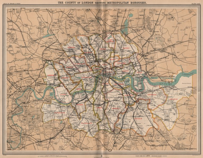 Map Of London Showing Boroughs.Details About County Of London Showing Metropolitan Boroughs Railways Tube Large 1903 Map