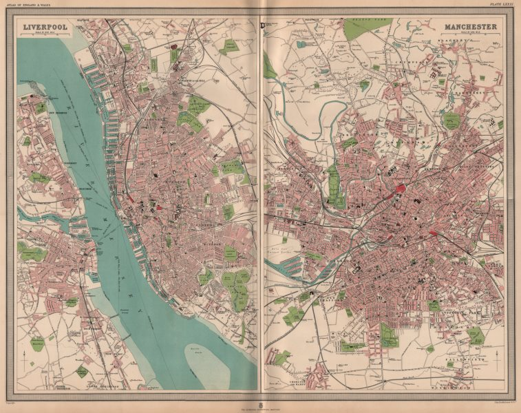 Associate Product NW ENGLISH CITIES. Plans of Liverpool & Manchester. Birkenhead. LARGE 1903 map
