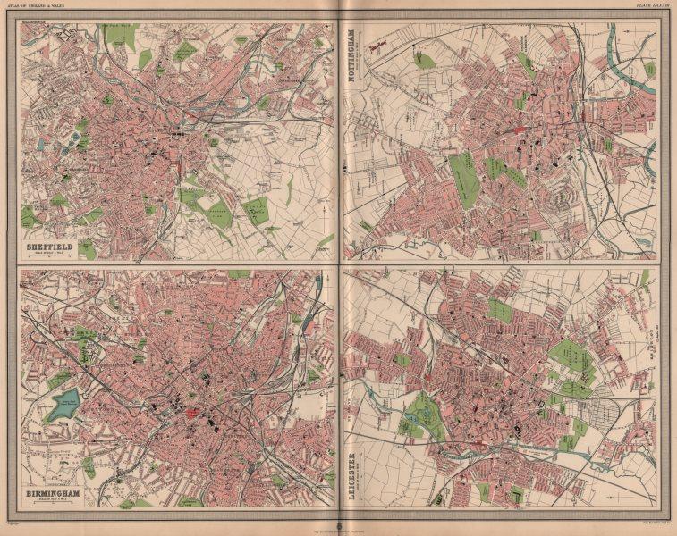 Associate Product ENGLISH CITIES Plans. Sheffield Nottingham Birmingham Leicester. LARGE 1903 map