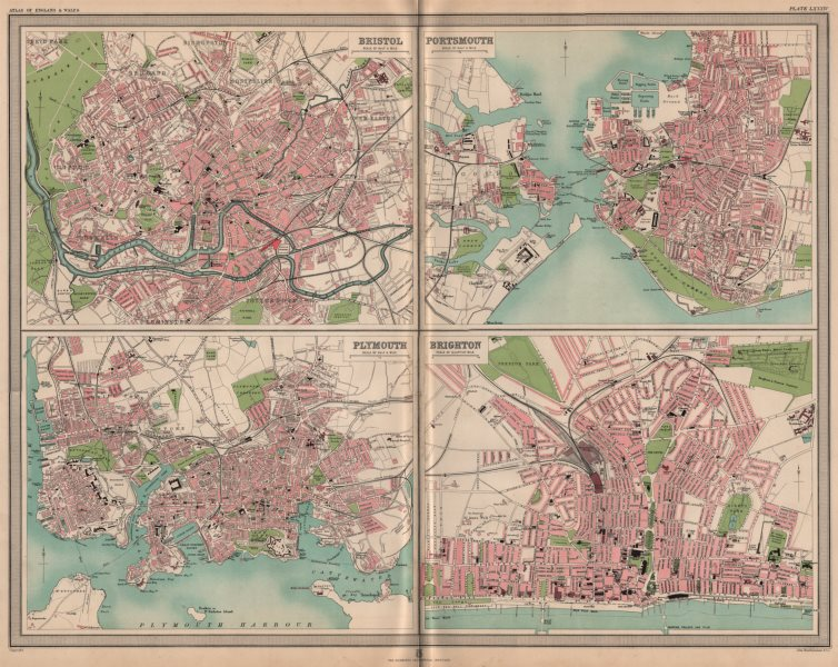 Associate Product S. ENGLISH CITIES plans. Bristol Portsmouth Plymouth Brighton. LARGE 1903 map