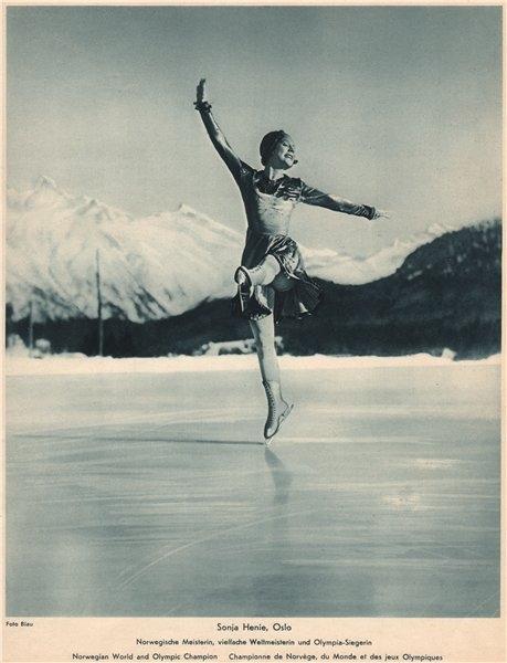 Associate Product ICE FIGURE SKATING. Sonja Henie. Norwegian, World and Olympic Champion (1) 1935