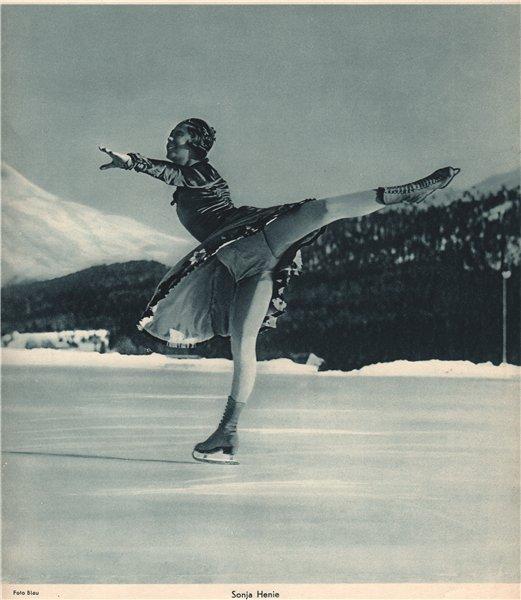 Associate Product ICE FIGURE SKATING. Sonja Henie. Norwegian, World and Olympic Champion (5) 1935