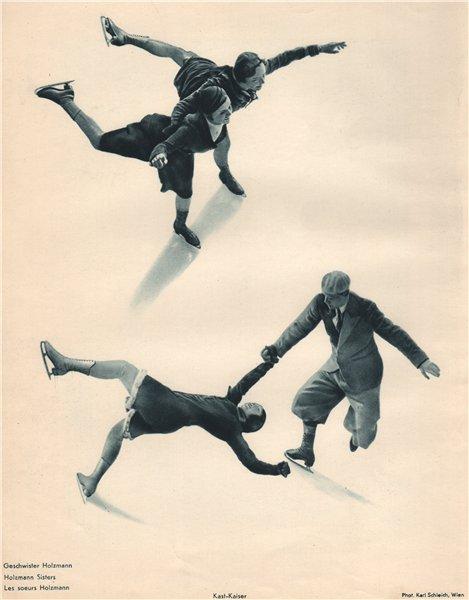Associate Product ICE FIGURE SKATING. Holzmann Sisters. Kast - Kaiser 1935 old vintage print