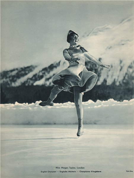 Associate Product ICE FIGURE SKATING. Miss Megan Taylor - English Champion (1) 1935 old print