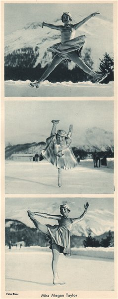Associate Product ICE FIGURE SKATING. Miss Megan Taylor - English Champion (2) 1935 old print