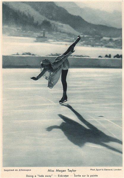 "ICE FIGURE SKATING. Miss Megan Taylor - Doing a ""fade away"" 1935 old print"