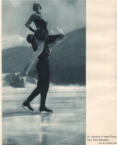 Associate Product ICE FIGURE SKATING. Dr. Manfred & Hazel Curry - München 1935 old vintage print