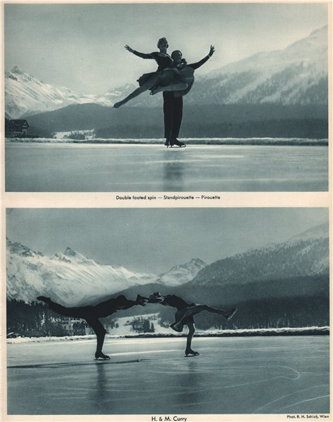 Associate Product ICE FIGURE SKATING. Double footed spin - Piroutte - H. & M. Curry 1935 print