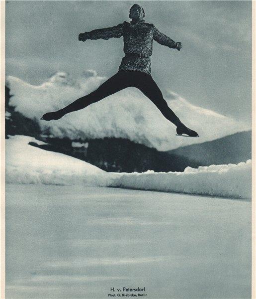 Associate Product ICE FIGURE SKATING. H.v. Petersdorf 1935 old vintage print picture