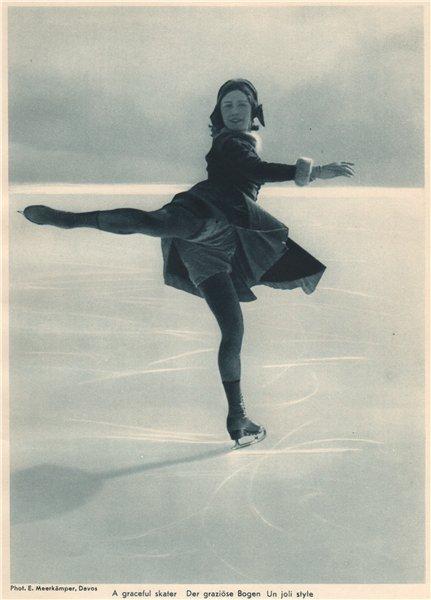 Associate Product ICE FIGURE SKATING. A graceful skater, Davos - Der graziöse Bogen 1935 print